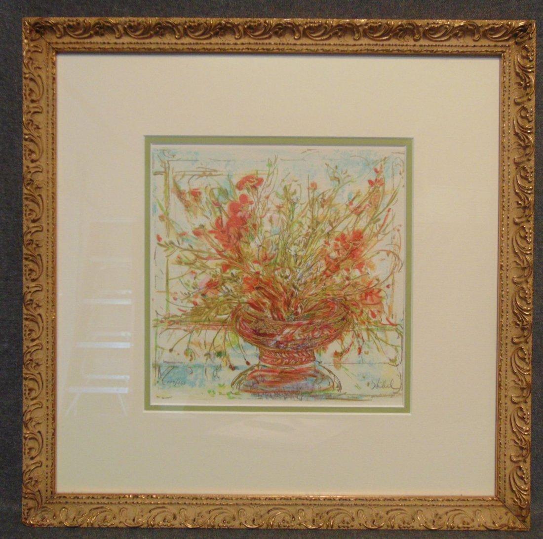 Edna Hibel (1917-2014) Floral Lithograph Signed