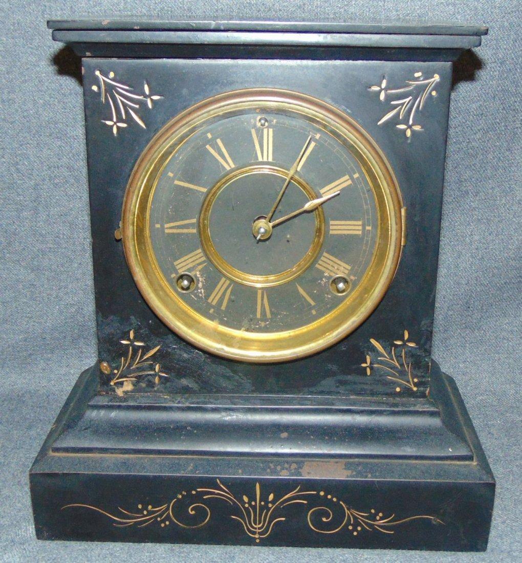 Antique Ansonia Black Marble Clock