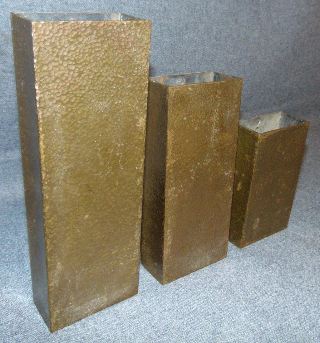 Set of 3 Antique Arts & Crafts Copper Wall Pockets