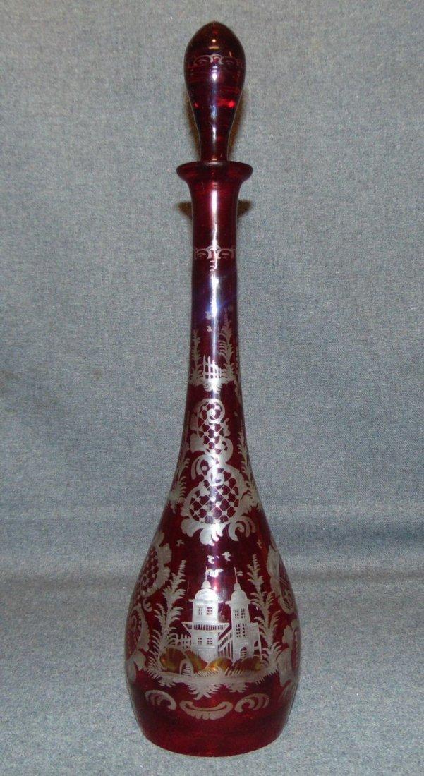 Vintage Etched Ruby Crystal Decanter
