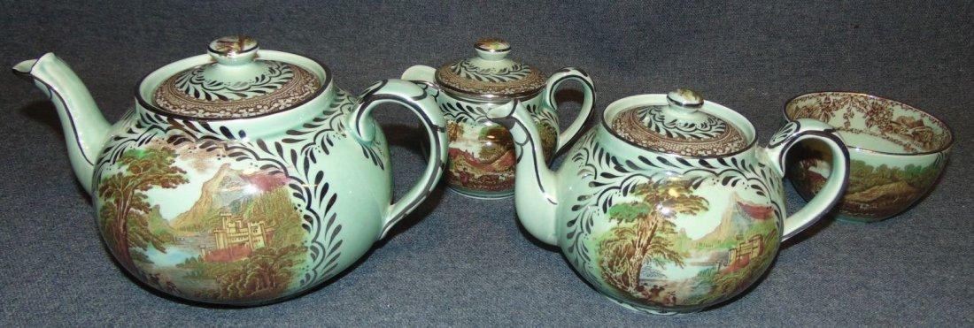 Antique Royal Staffordshire Rural Scenes Coffee Tea Set