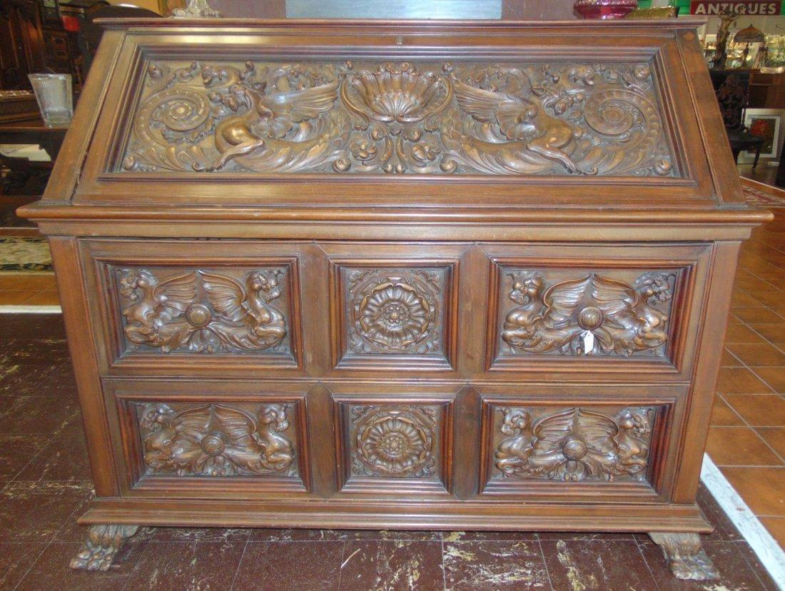 Antique Italian Carved Walnut Secretary Desk