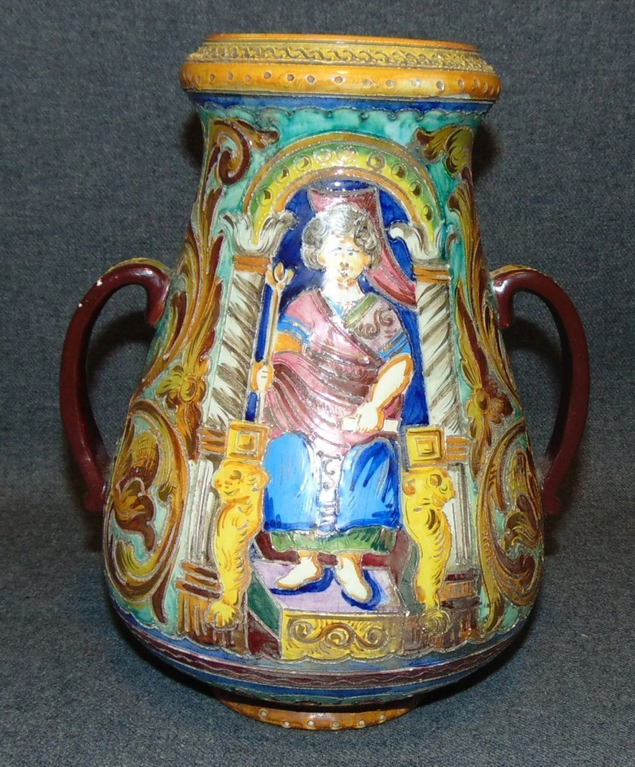 Hand Painted Antique Pottery 2 Handled Vase