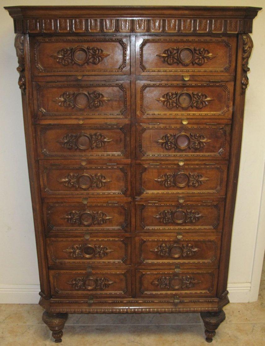 Rare Antique Carved Walnut 14 Drawer File Cabinet