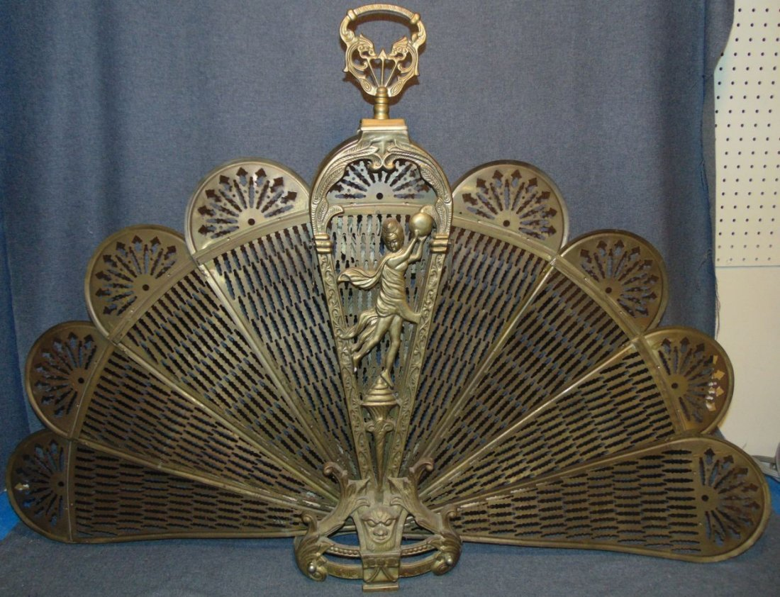 antique brass peacock fan fireplace screen rh liveauctioneers com vintage solid brass fireplace screen antique brass folding fireplace screen