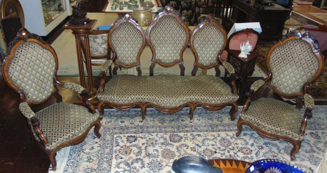 3 piece Antique Carved Rosewood Parlour Set