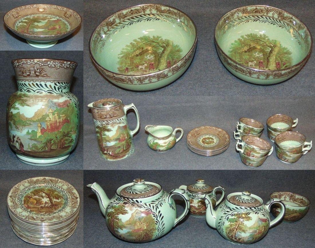 Royal Staffordshire Jenny Lind 1795 & Rural Scenes Set