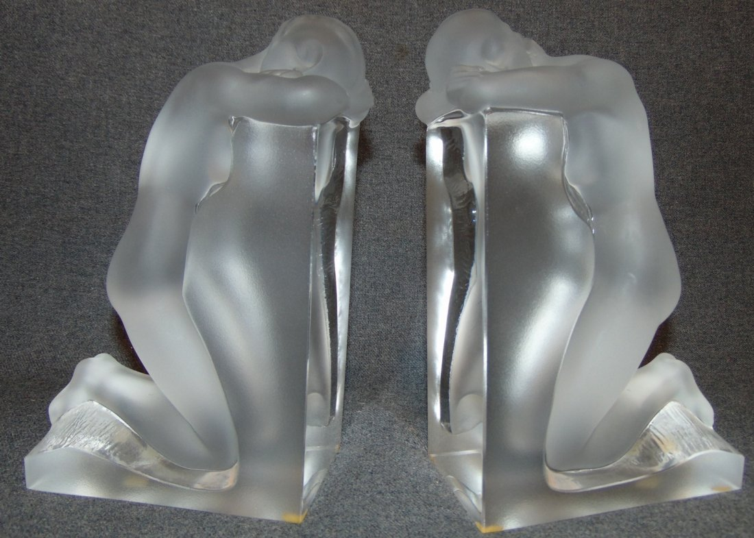 Lalique Frosted & Clear Reverie Bookends