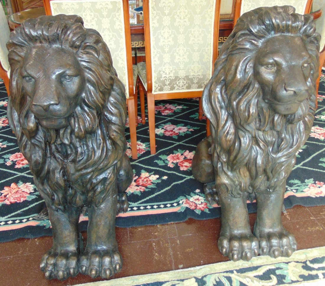 Magnificent Pair of Sitting Bronze Lions