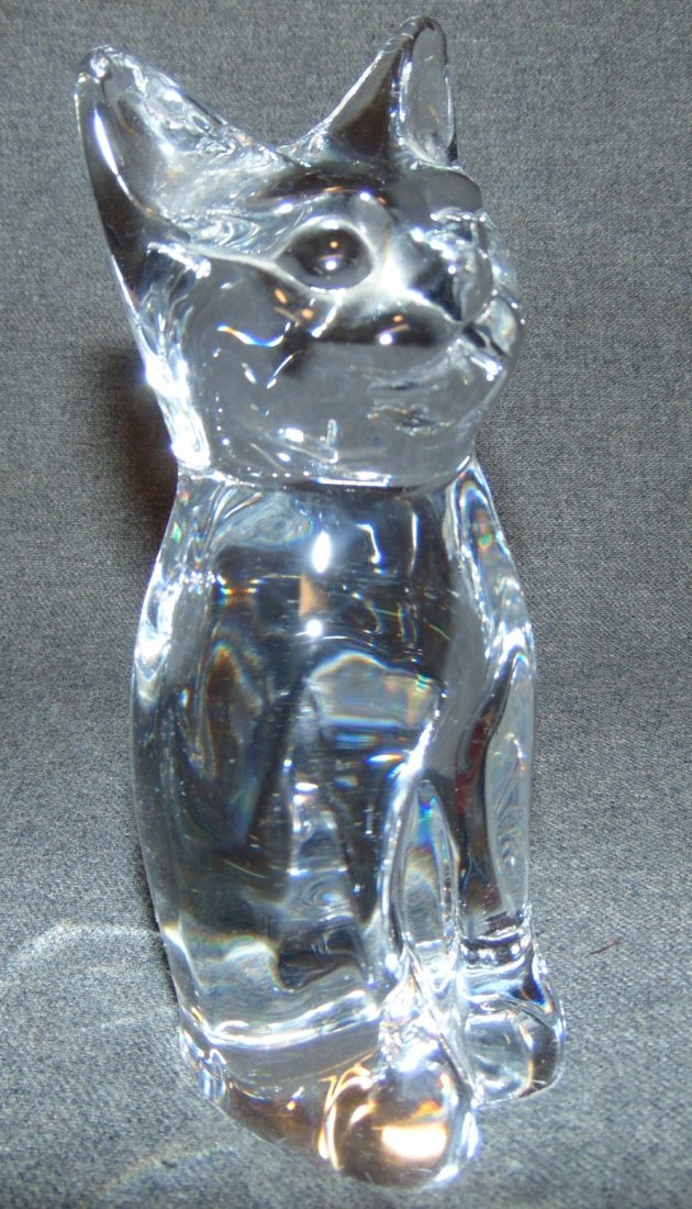 Daum Nancy Clear Crystal Seated Cat