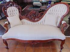 Antique Carved Walnut Victorian Sofa Settee
