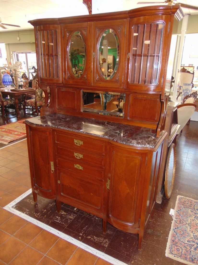 Antique Inlaid Oak Sideboard with Marble Top