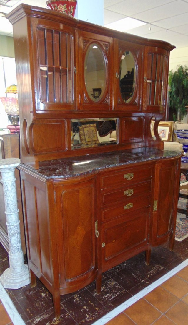 Antique Inlaid Oak Sideboard with Marble Top - 2