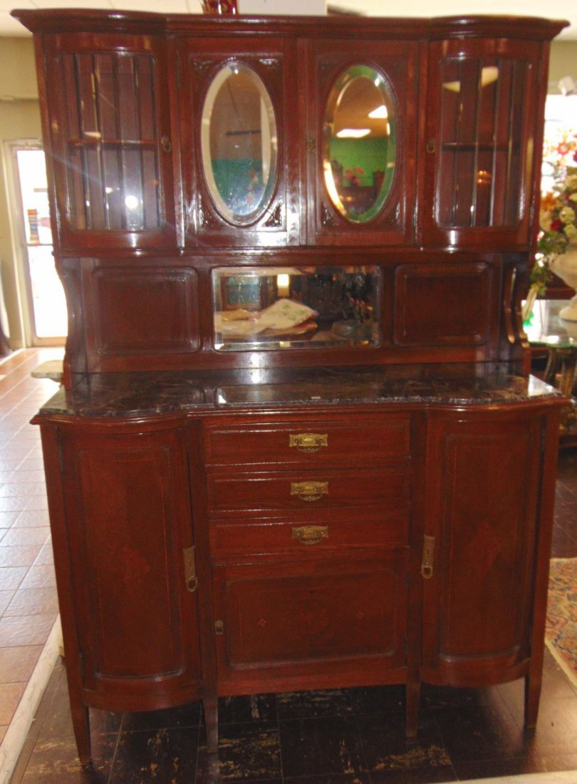 Antique Inlaid Oak Sideboard with Marble Top - 3
