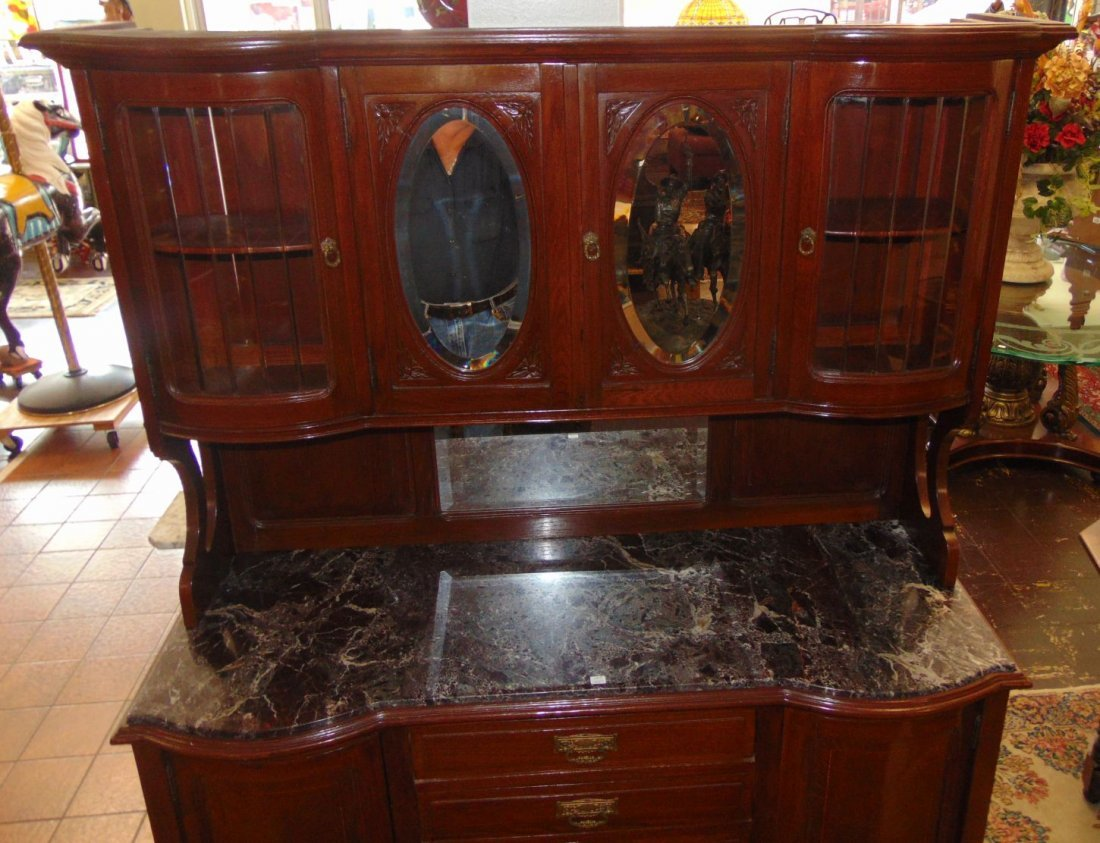 Antique Inlaid Oak Sideboard with Marble Top - 4