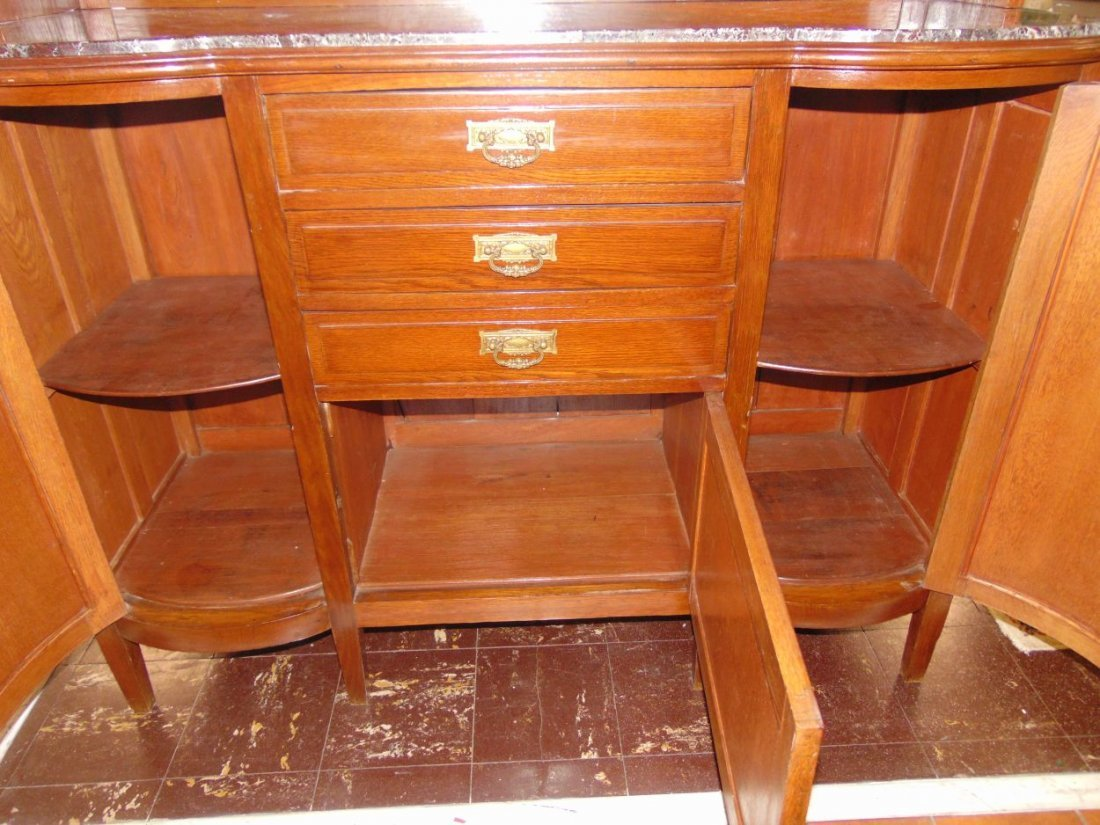 Antique Inlaid Oak Sideboard with Marble Top - 5