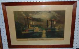 Rare Currier  Ives Midnight Race on the Mississippi