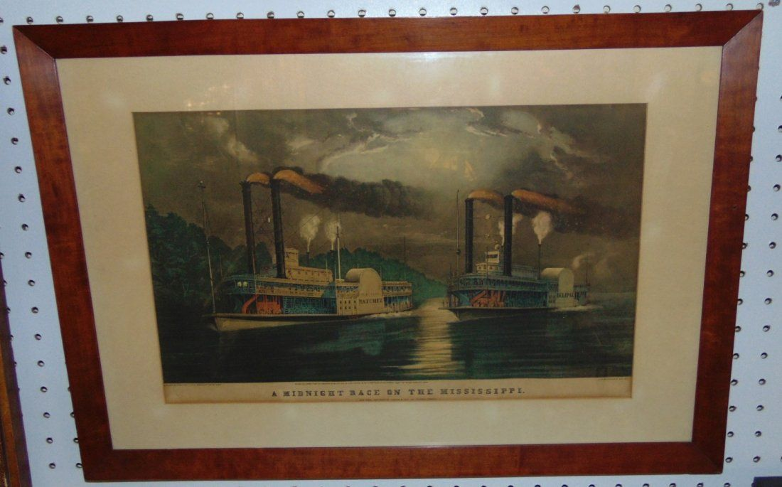 "Rare Currier & Ives ""Midnight Race on the Mississippi"""