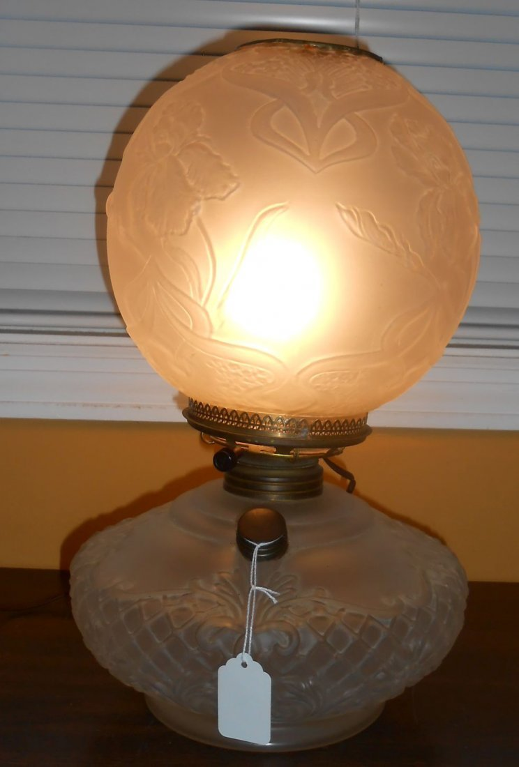 Antique Satin Glass Gone With The Wind Lamp