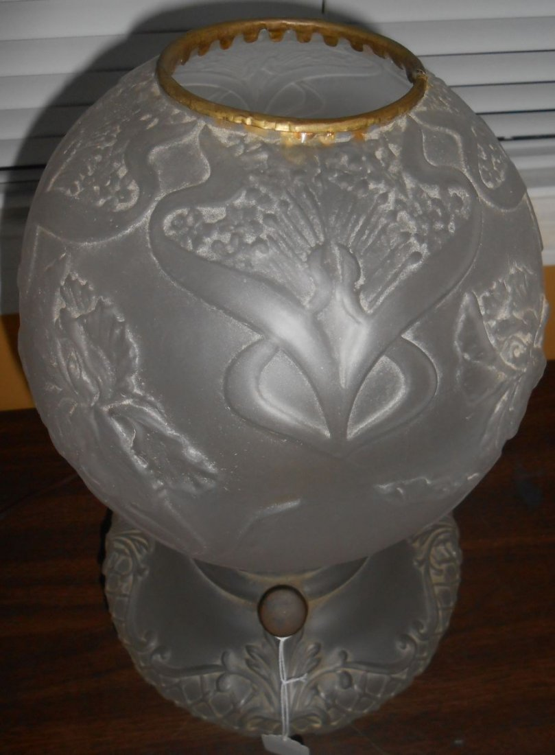 Antique Satin Glass Gone With The Wind Lamp - 4