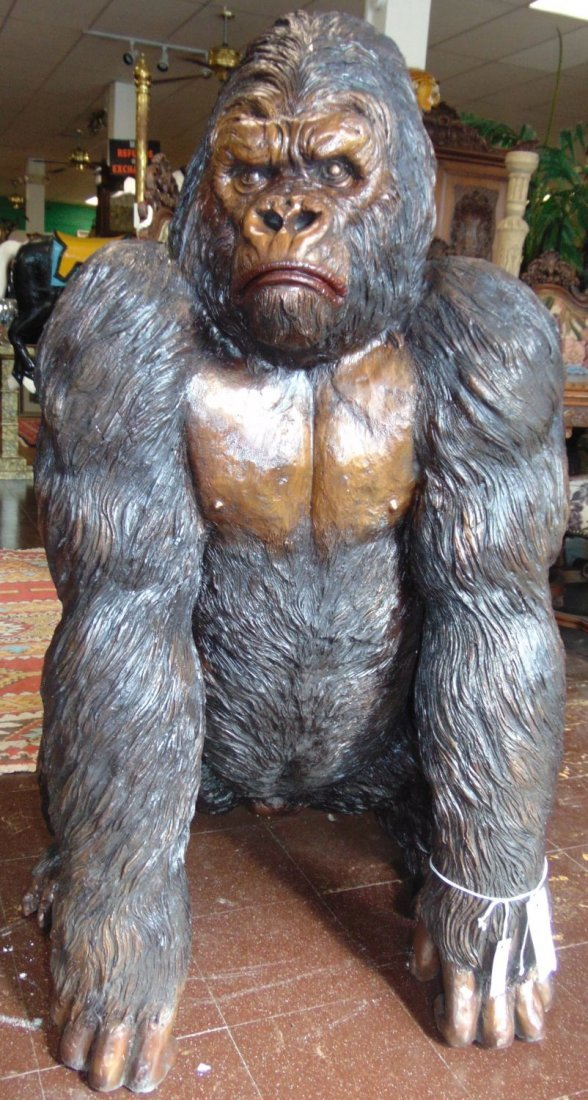 Fabulous Life Size Bronze Gorilla Sculpture