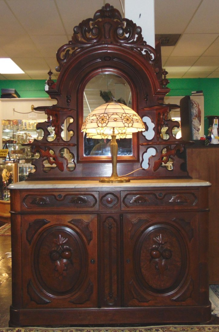 Antique Victorian Walnut and Marble Top Sideboard