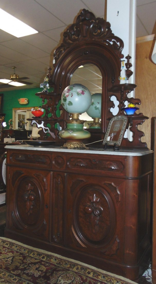 Antique Victorian Walnut and Marble Top Sideboard - 2