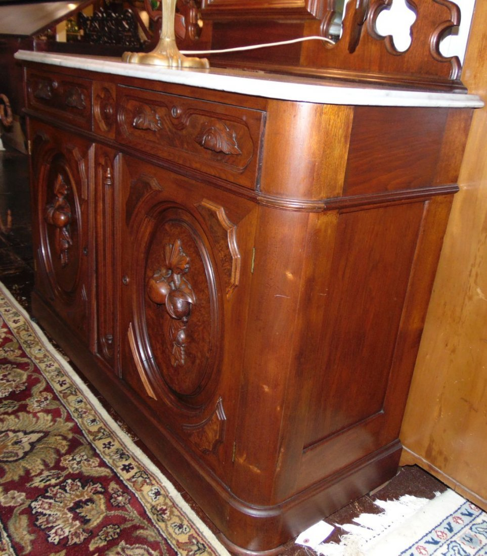 Antique Victorian Walnut and Marble Top Sideboard - 6