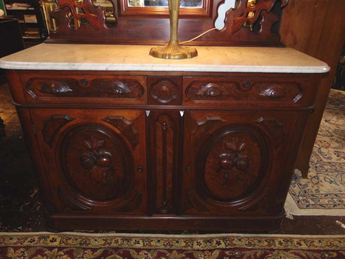 Antique Victorian Walnut and Marble Top Sideboard - 8