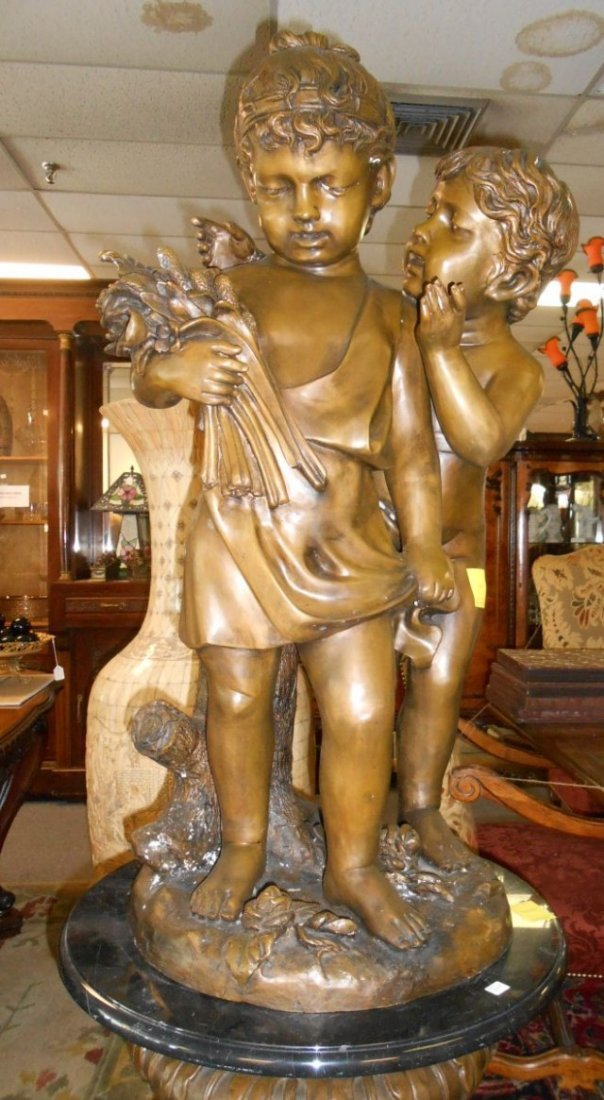 Beautiful Life Size Bronze Sculpture of Children Cherub