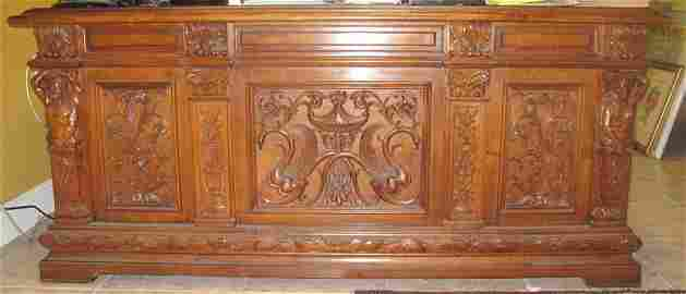 Magnificent Antique Italian Carved Walnut Desk