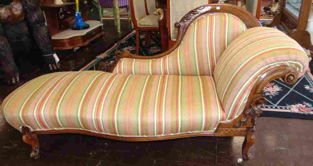 Antique Carved Walnut Chaise Lounger