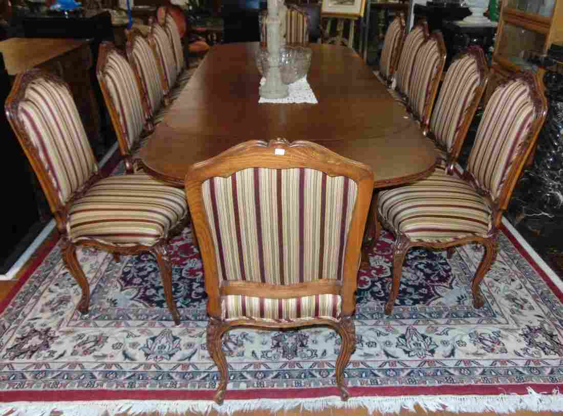 Antique Set of 12 Carved Walnut Dining Chairs