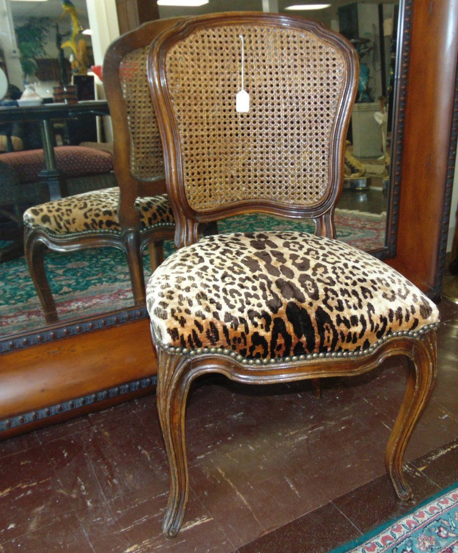 Vintage Mahogany Cane Back Chair with Leopard Print