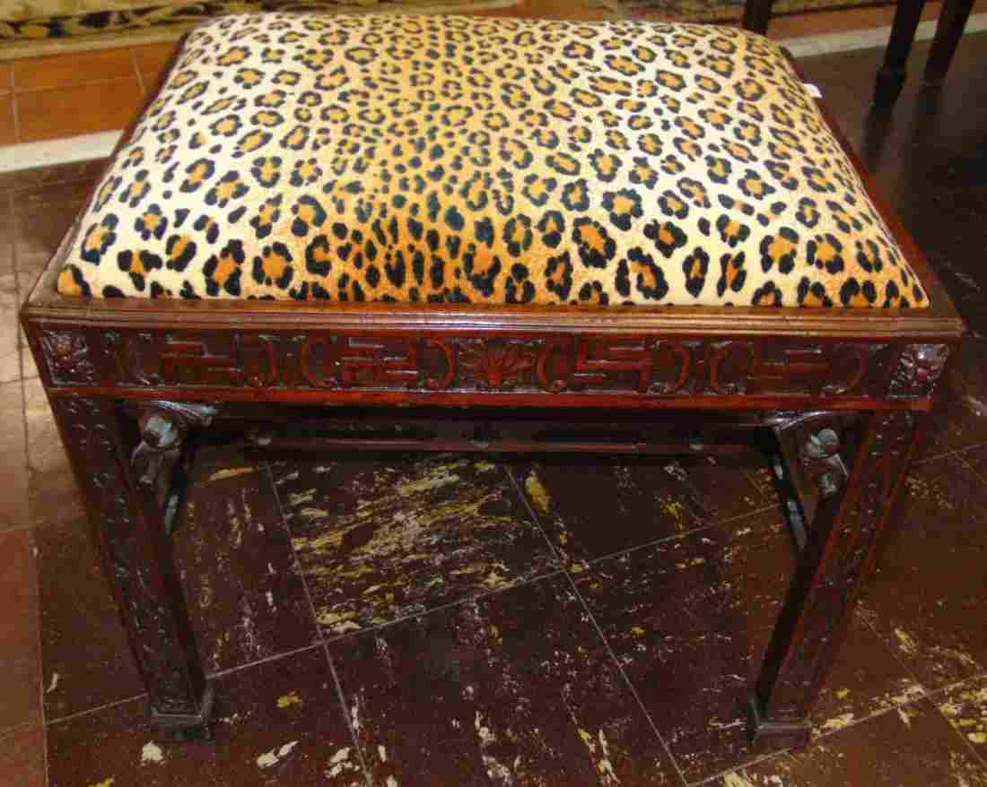 Vintage Mahogany Bench Seat with Leopard Print Fabric