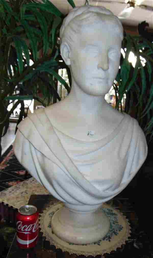 Antique Carved Marble Bust by C.H. Hemenway