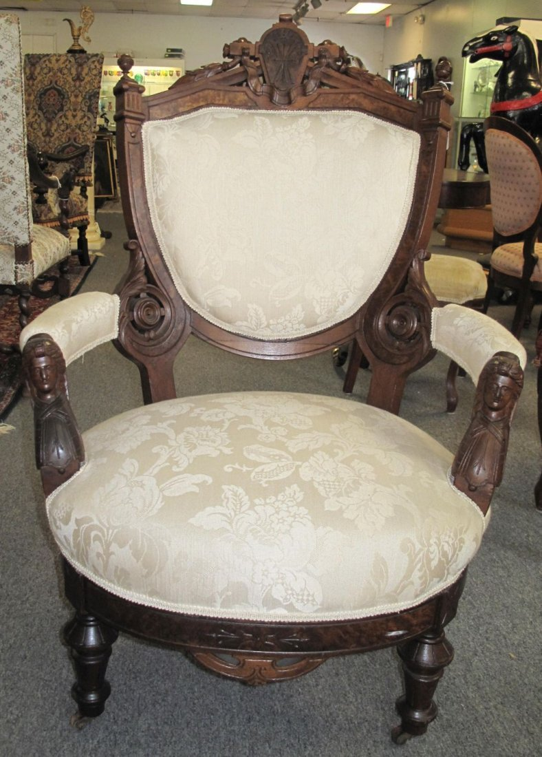 Antique John Jelliff Carved Walnut Arm Chair