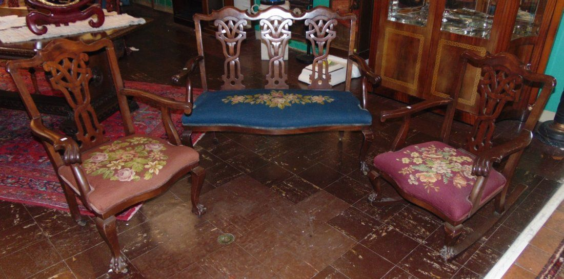 Antique 3 piece Mahogany Parlour Set with Rocker