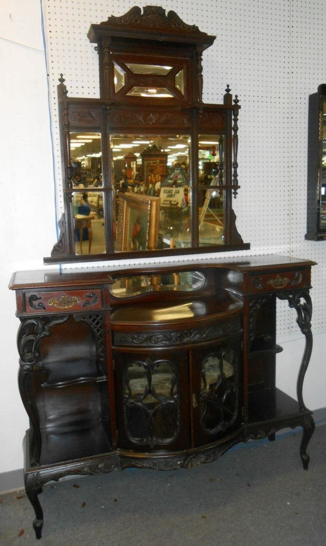 Antique Victorian Etagere And Mirror