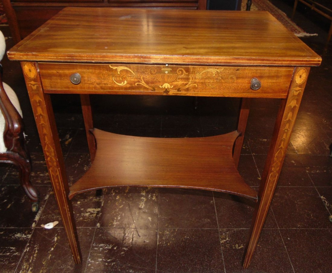 Antique Inlaid Mahogany Side Table