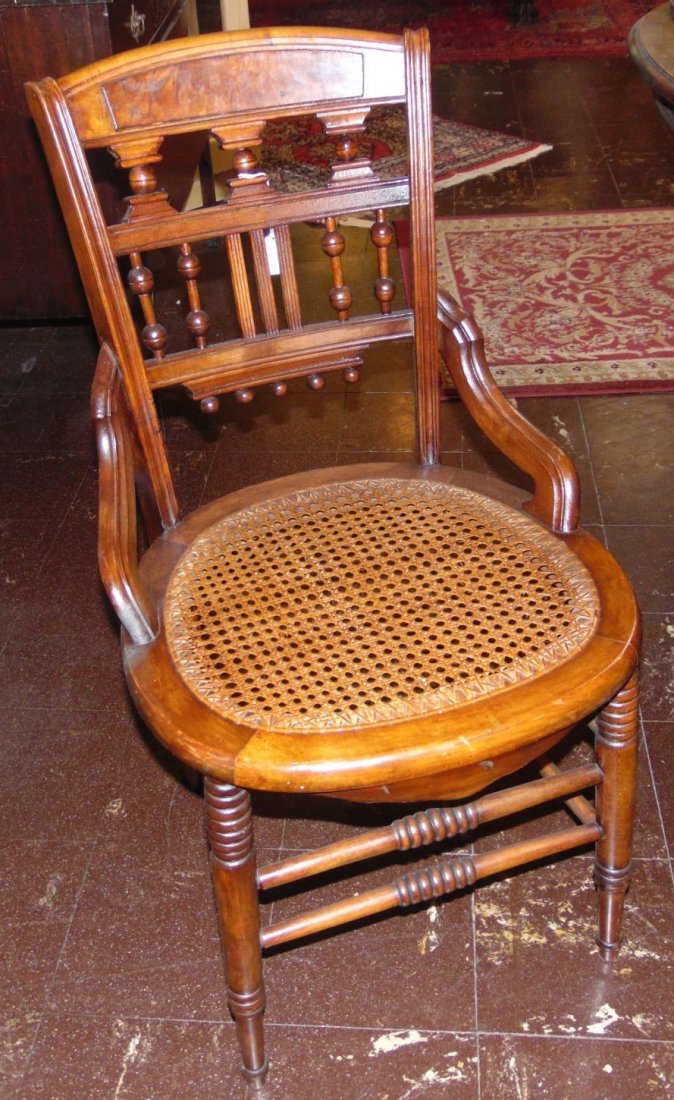 Set of 4 Antique Mahogany Cane Bottom Chairs
