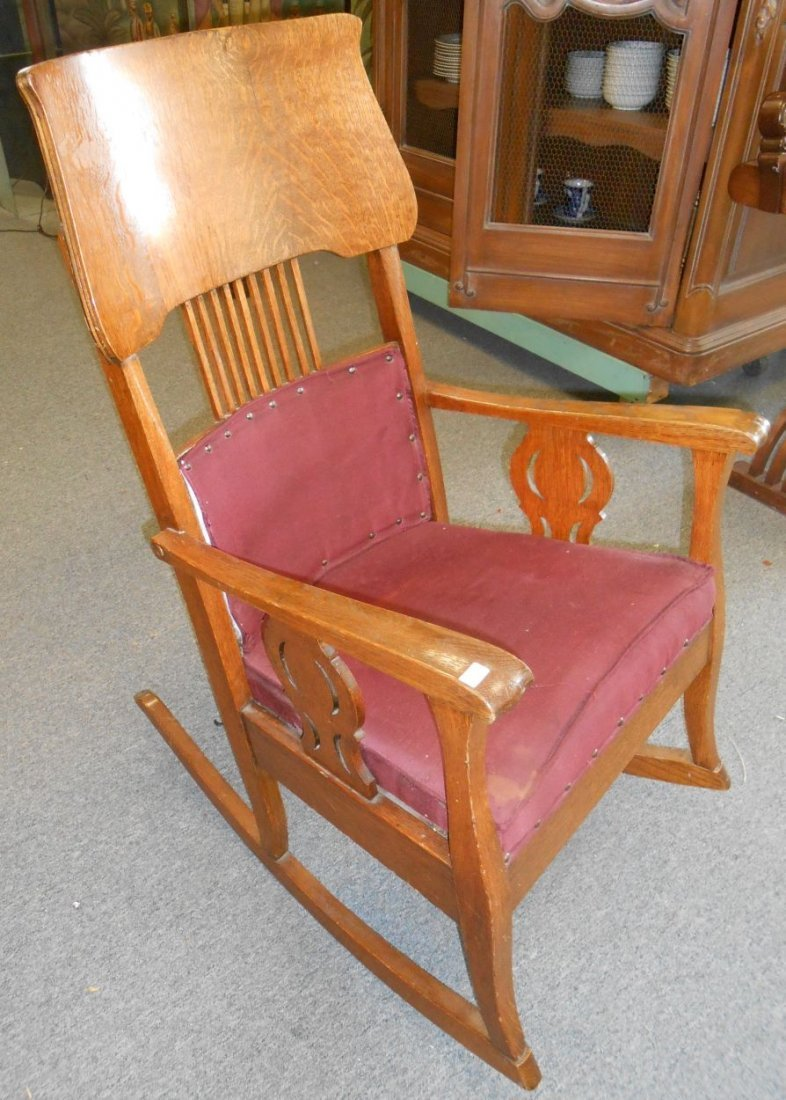 Antique Golden Oak Rocking Chair