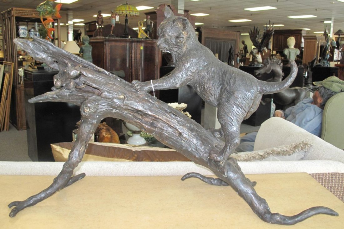 Bronze Sculpture of a Cat and Mouse