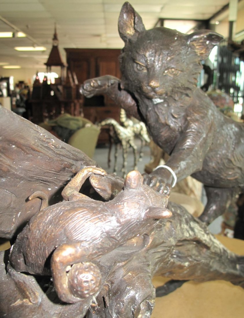 Bronze Sculpture of a Cat and Mouse - 2