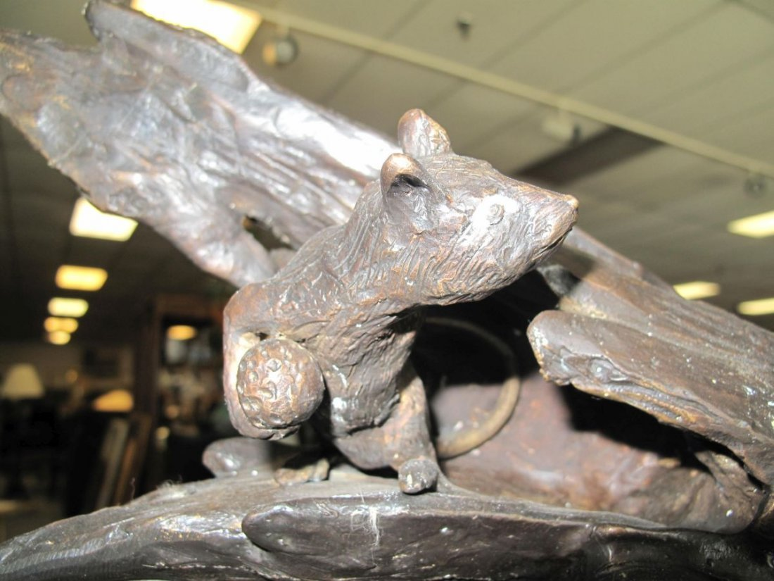 Bronze Sculpture of a Cat and Mouse - 3