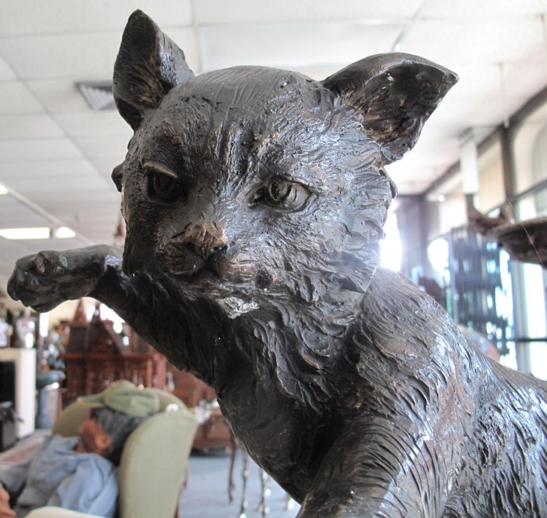 Bronze Sculpture of a Cat and Mouse - 4