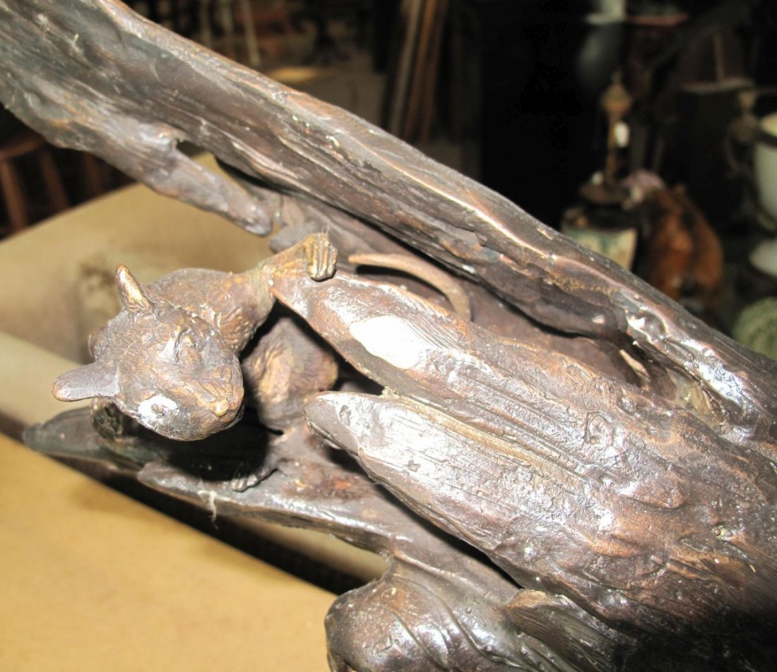 Bronze Sculpture of a Cat and Mouse - 5