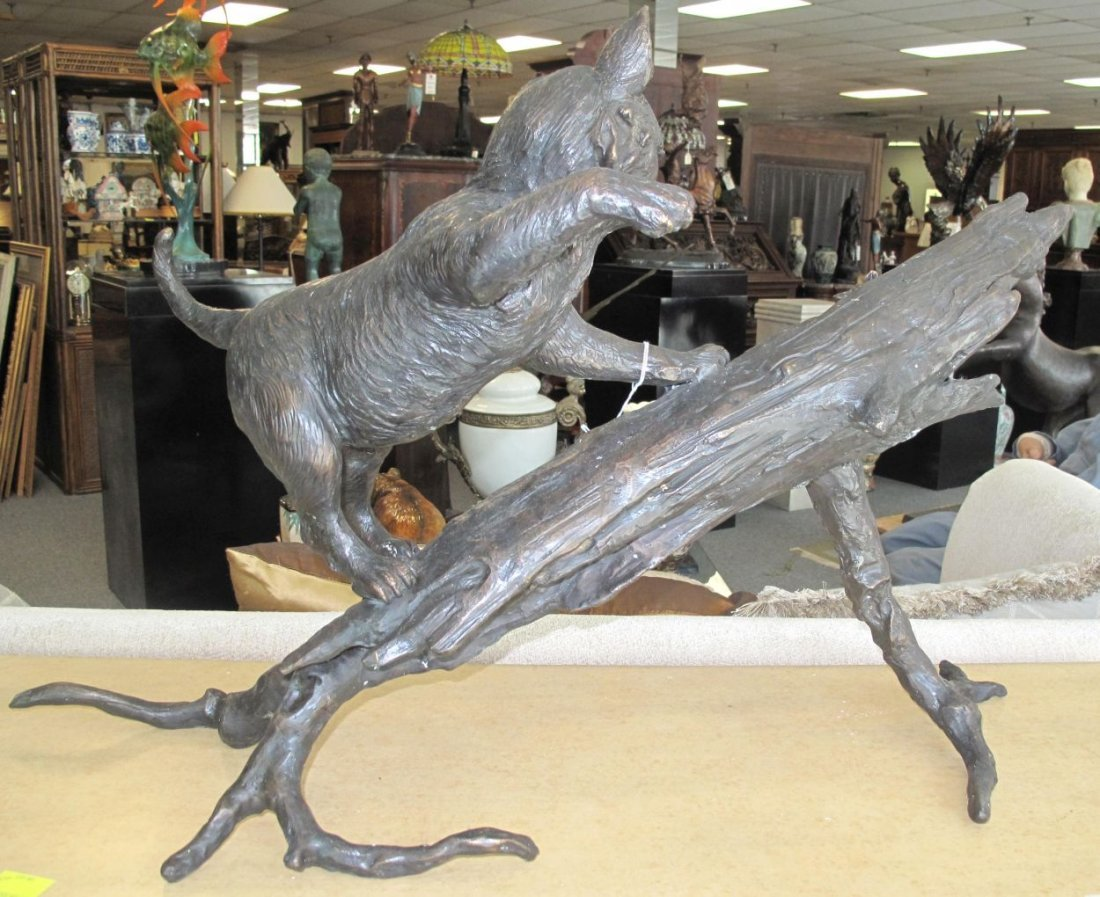 Bronze Sculpture of a Cat and Mouse - 6