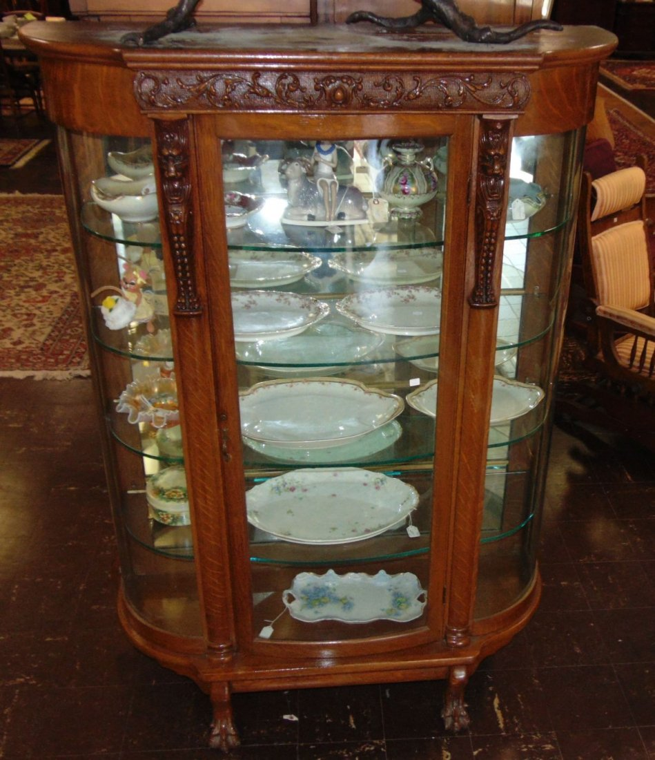Antique Carved Oak Bow Front China Cabinet