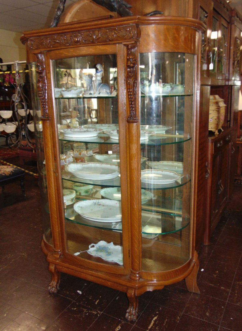 Antique Carved Oak Bow Front China Cabinet - 2